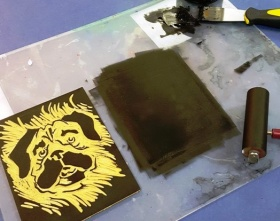 example linocut-print preparation