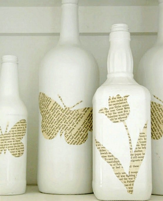 DIY Book Page Bottle Decor Jul 22